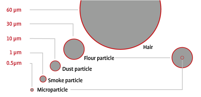 Size comparison of smallest particles